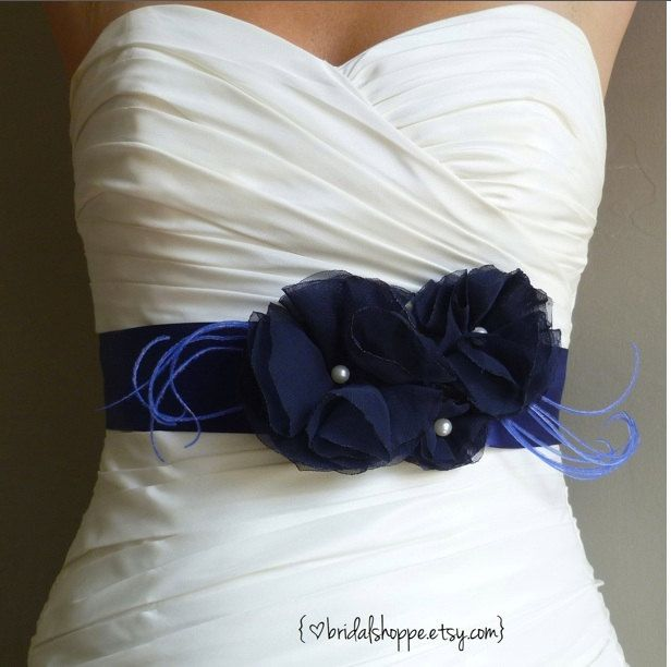 Wedding Sash Belt Lucky Three Navy Blue Flowers on Navy Blue Satin Bridal Sash.  via Etsy.
