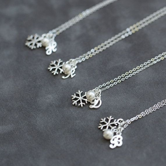 Silver Initial Snowflake Bridesmaid Necklaces | Bridesmaids Gift
