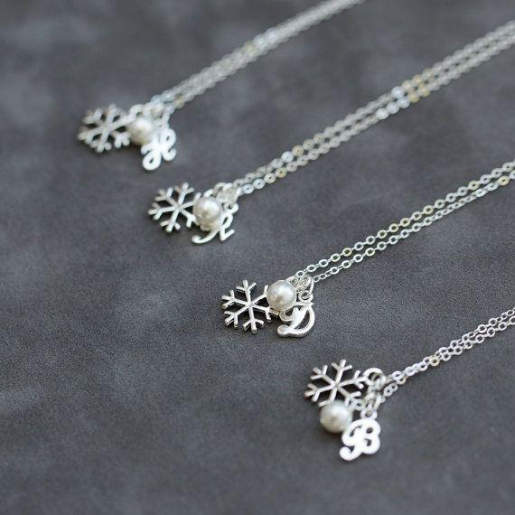 Silver Initial Snowflake Bridesmaid Necklaces | Bridesmaids Gift