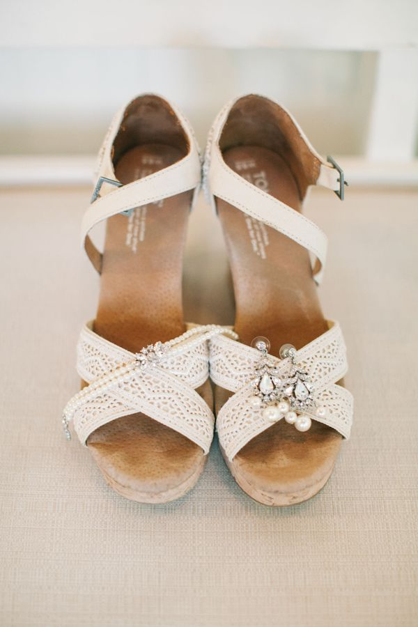 Toms Crochet wedges- necessary for an outdoor wedding w/ chance of rain! So comfortable and classic.  Jewelry by BHLDN. After months & months of searching- this jewelry just completed the look!