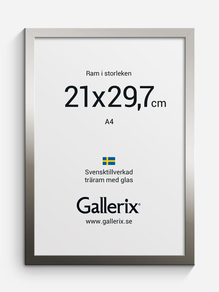 Tellus Träram Silver 21x29,7 (A4)-Bildmått/Innermått: 21x29.7 cm  Yttermått: 22.6x31.3 cm. Tellus är en fin #tavelram i trä med riktigt glas.