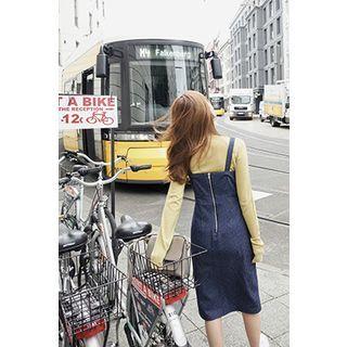 Buy CHERRYKOKO Sweetheart-Neckline Denim Jumper Dress at YesStyle.com! Quality…