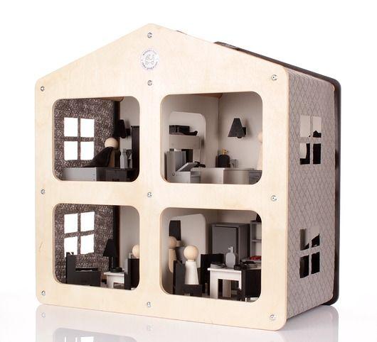zabawki - klocki i zabawki drewniane-Designerski drewniany domek dla lalek NOWOŚĆ!
