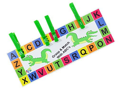 Alligator ABC clips with a fun, colorful ABC alligator board. Learn to  MATCH the alphabet+ FUNCTIONAL GRASP= FUN WITH ADAPT EASE!