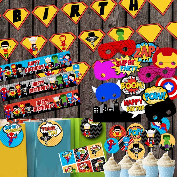 Super hero party package, instant download, party supplies, water bottle labels, photo booth props and signs, tags and more!