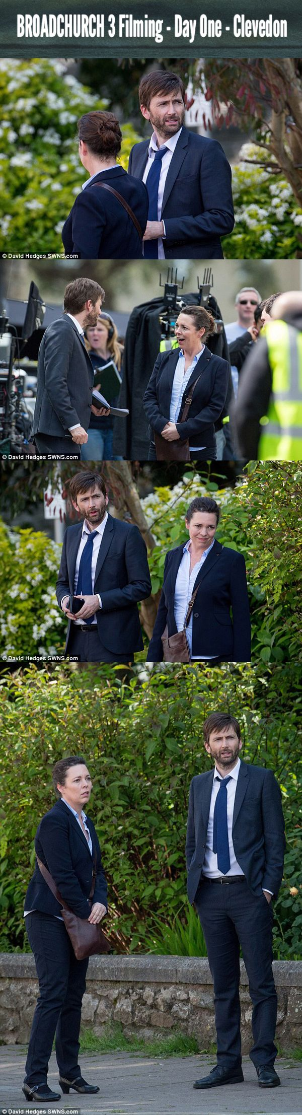 #Broadchurch 3 Filming - Day One — Clevedon - Finally after a long wait, Olivia Colman and David Tennant step out to, once again, reprise their roles as TV Detectives DS Ellie Miller & DI Alec Hardy. For, what will be, the TV duo's last series. :,( *sniff - ifourdezign |  Photos: ©David Hedges SWNS.com