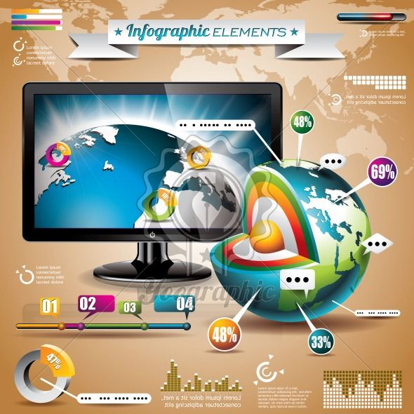 Vector technology design set of infographic elements. World map and information graphics on shiny display. - Royalty Free Vector Illustration