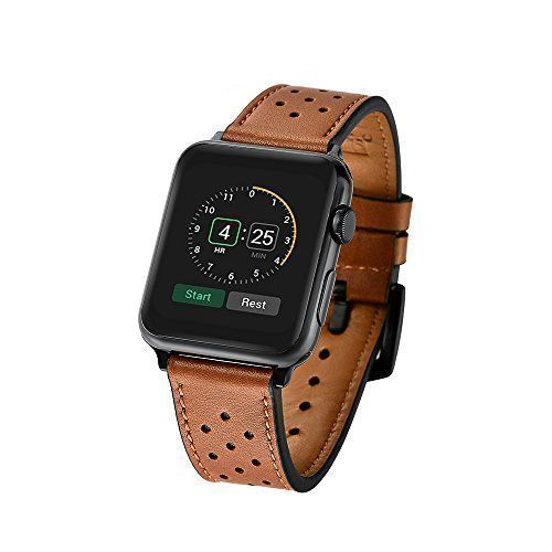 Hand Made Apple Watch Band Strap Soft Genuine Leather Series 1 2 3 Brown 42mm #HandMadeAppleWatchBand