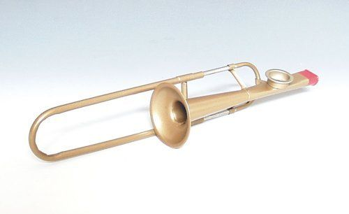 """Trombone Vintage Kazoo by Music Treasures Co.. Save 35 Off!. $12.99. Vintage kazoos. Made in USA. These whimsical designs are completely playable and have been revived exclusively for us by the same antique factory that made them over 60 years ago! Vintage Kazoos are constructed of metal with plastic mouth pieces. The trombone side actually moves for effect!! 11""""L. The trombone is available in Bronze/Gold coated finish."""