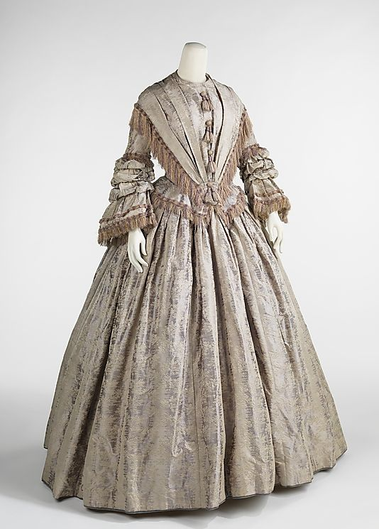 Afternoon Dress, 1848 : Fashionable dress of the 1840s was inspired by Queen Victoria, who was crowned in 1838. Description from pinterest.com. I searched for this on bing.com/images