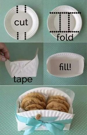 """Paper plate cookies holder- Great idea for a bake sale! Easy, cheap way to make """"bags"""" by elma"""