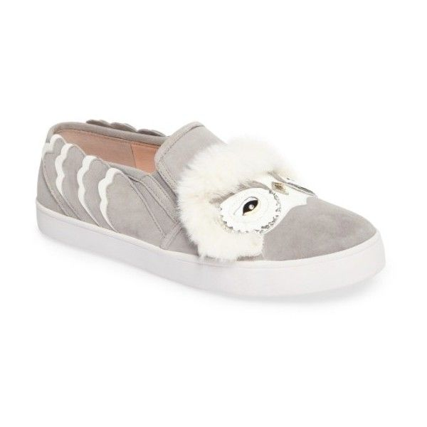 Women's Kate Spade New York Leferts Faux Fur Trim Slip-On Sneaker (1,115 CNY) ❤ liked on Polyvore featuring shoes, sneakers, light grey, wing shoes, slip-on shoes, faux fur shoes, slip on shoes and light grey shoes
