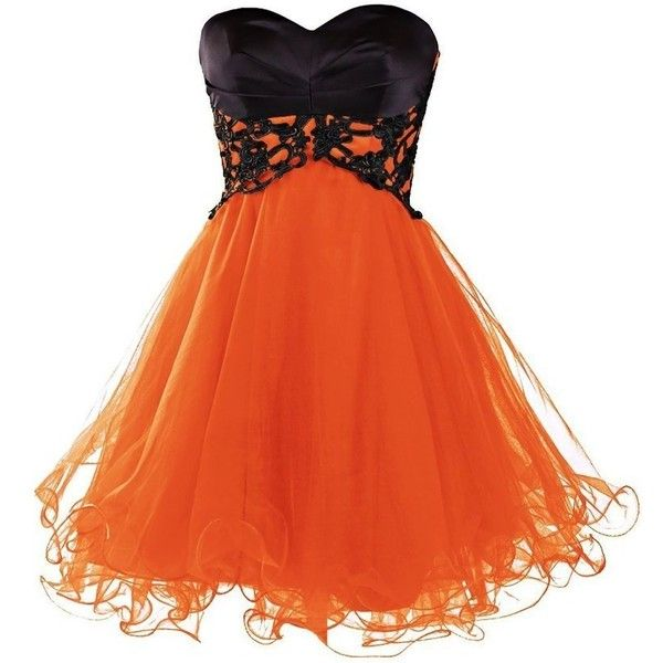 Ababalaya Short Prom Tulle Dresses Tutu Homecoming Dress for Women ($39) ❤ liked on Polyvore featuring dresses, orange dress, short dresses, homecoming dresses, prom homecoming dresses and tulle dress