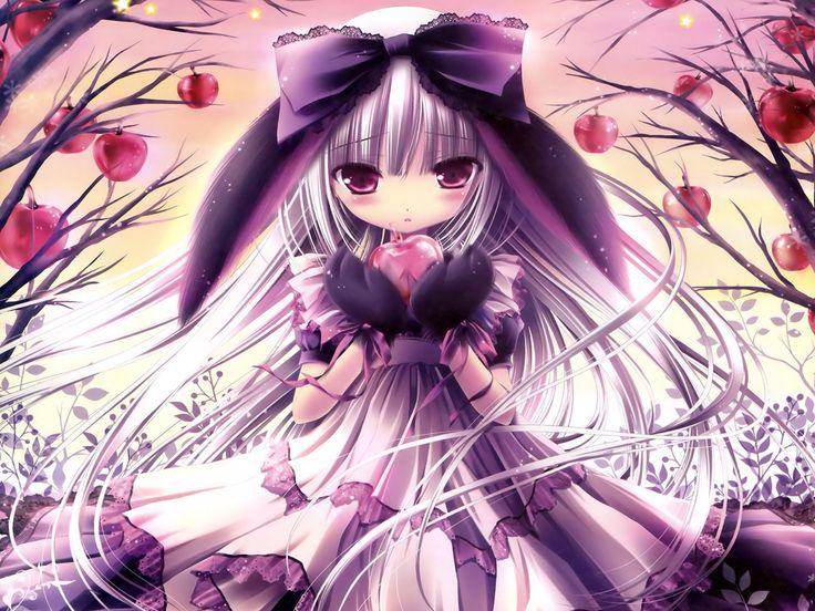 An anime girl that's half rabbit and half human eating an