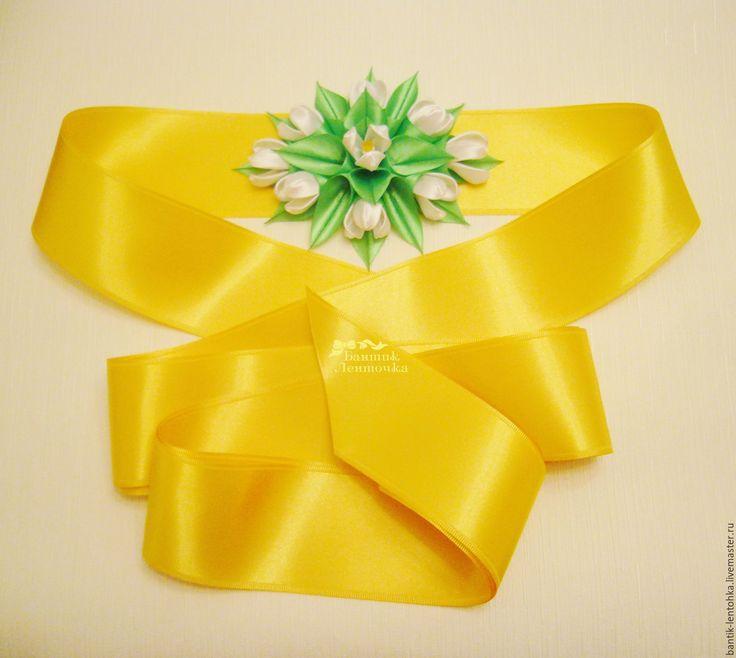 """Купить Свадебный пояс """"Подснежники"""" - пояс с цветами, пояс с цветком, атласный пояс, пояс атласный"""