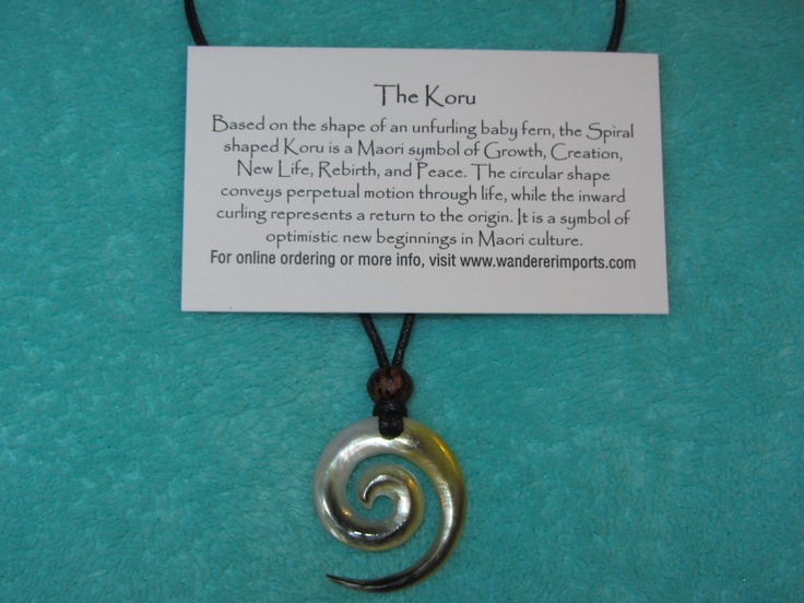 """Love the symbology.  :-)  """"Based on the shape of an unfurling baby fern, the spiral or Koru is a Maori symbol of Creation, New Life, Rebirth, Growth and Peace. The circular shape conveys perpetual motion through life, while the curling inward represents a return to the origin. It is a symbol of optimistic new beginnings in Maori culture."""""""