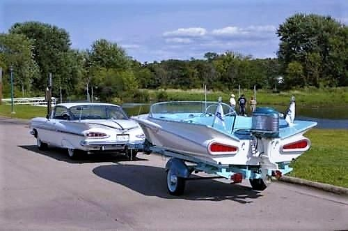 1959 Chevy Big Fin Boat & '59 Chevy Tow Car. This is Cool.