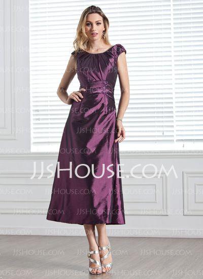 Bridesmaid Dresses - $99.99 - A-Line/Princess Scoop Neck Tea-Length Taffeta Bridesmaid Dress With Ruffle Beading Sequins (007005303) http://jjshouse.com/A-Line-Princess-Scoop-Neck-Tea-Length-Taffeta-Bridesmaid-Dress-With-Ruffle-Beading-Sequins-007005303-g5303