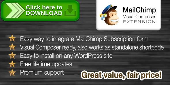 [ThemeForest]Free nulled download MailChimp Subscribe Form Visual Composer Extension from http://zippyfile.download/f.php?id=48315 Tags: ecommerce, email list, email subscription, mailchimp, mailchimp form, mailchimp integration, mailchimp subscription, mailchimp subscription form, newsletter, newsletter signup form, newsletter subscription, subscription form, visual composer, visual composer addon, wordpress