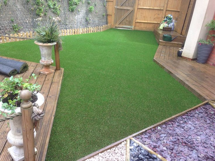 Trulawn artificial grass can be a great solution to those tricky to mow areas in unusually shaped gardens