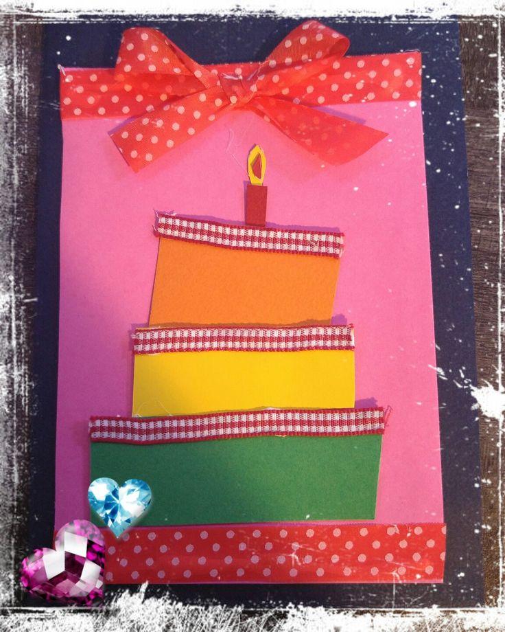 Χειροποιητη καρτα γενεθλιων b-day cake!!
