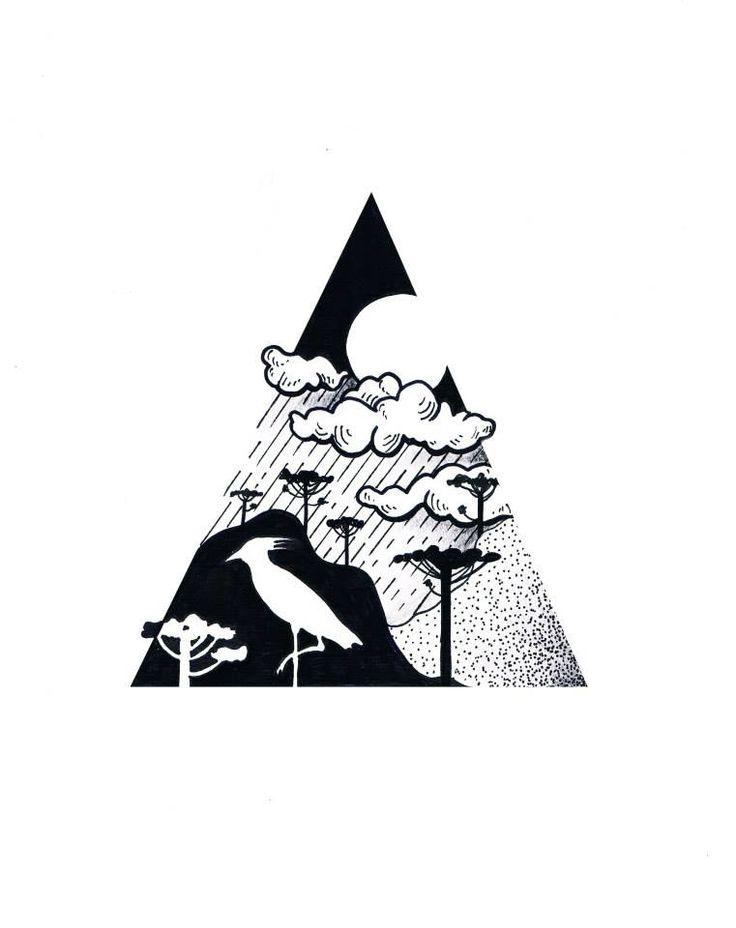 Desenho com temática gaúcha, quero-quero e araucárias, no estilo linework/dotwork.