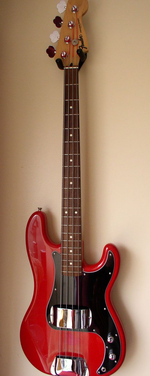 Black and Red Fender P Bass