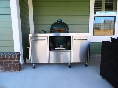 Stainless Steel Big Green Egg Table Cart | Big Green Egg Table, Green Eggs  And Egg