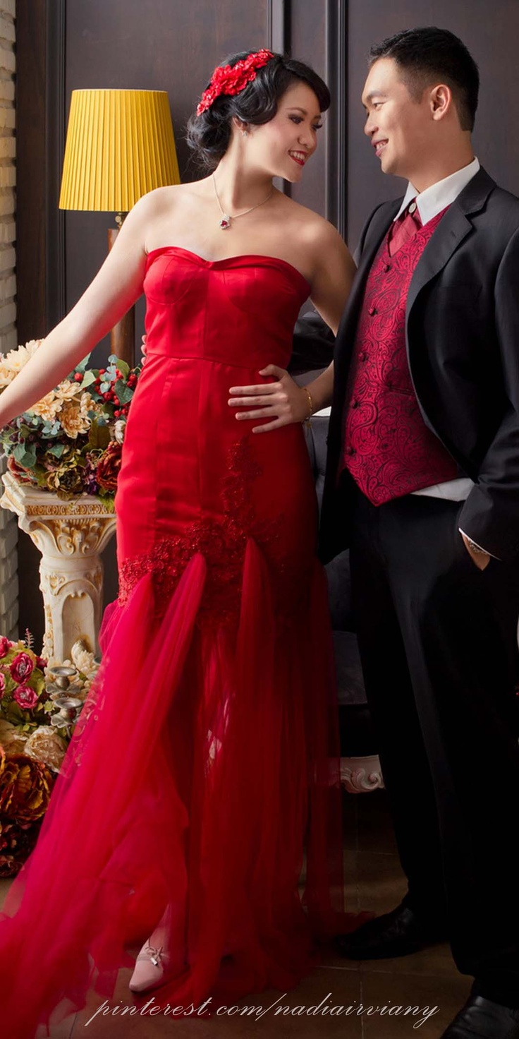 Red Tule and Taffeta Silk dress with embroidered lace detail by Nadia Ivy