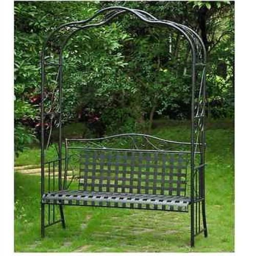 Wrought Iron Arbor Bench Trellis Garden Patio Outdoor Lawn