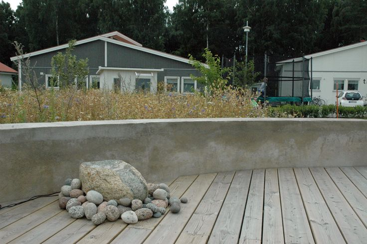 Ekerö garden, concerte wall, meadow, flower meadow, stone, deck, wooden deck, natural landscape, modern style