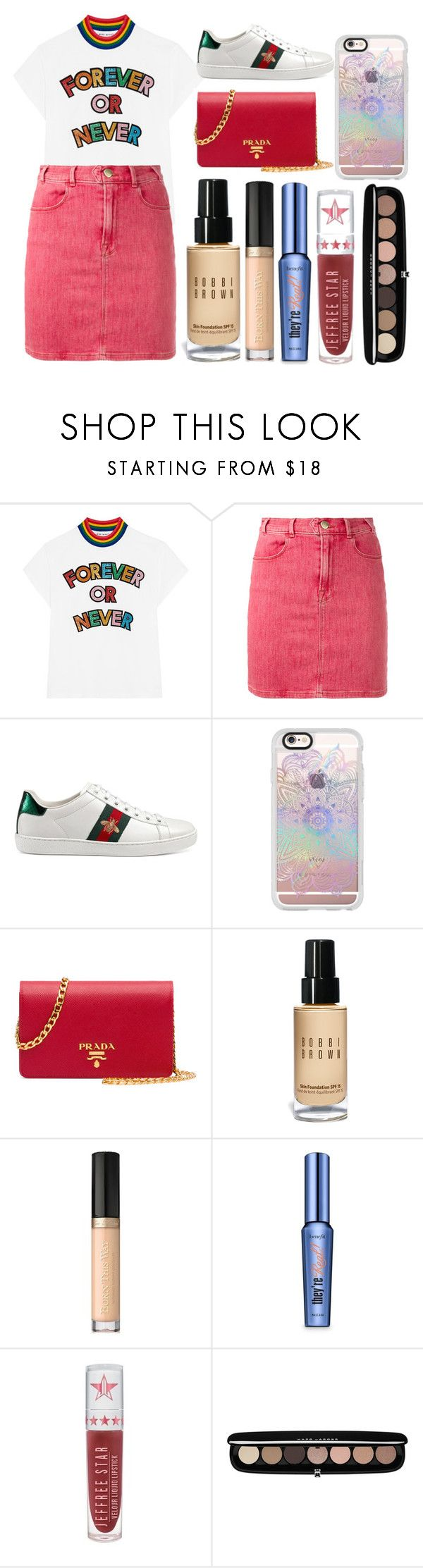 """forever or never"" by millieisabellanicol ❤ liked on Polyvore featuring Mira Mikati, Frame, Gucci, Casetify, Prada, Bobbi Brown Cosmetics, Too Faced Cosmetics, Benefit, Jeffree Star and Marc Jacobs"