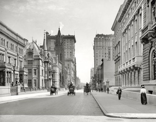 "New York circa 1908. ""Fifth Avenue hotels north from 51st Street."" 8x10 inch dry plate glass negative, Detroit Publishing Company."