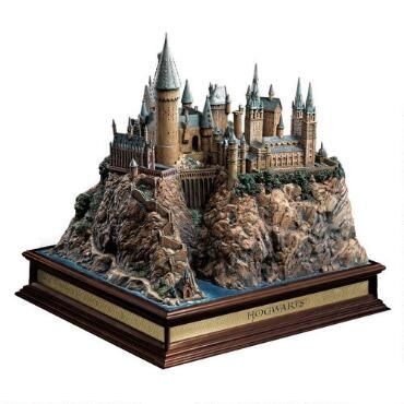 The Harry Potter Hogwarts Castle Replica includes a wooden base that measures 11 x 12 inches in width and 2.5 inches in height.