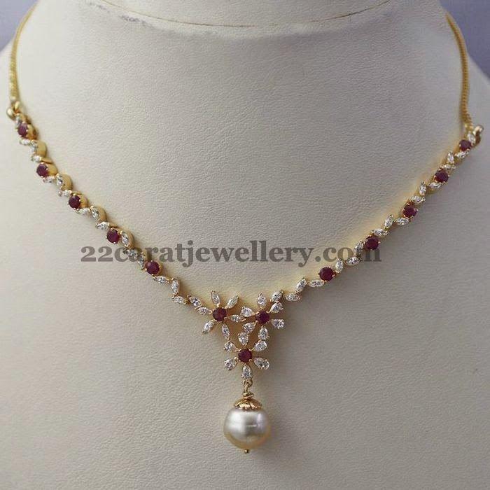 Jewellery Designs: Very Sleek Diamond Necklace