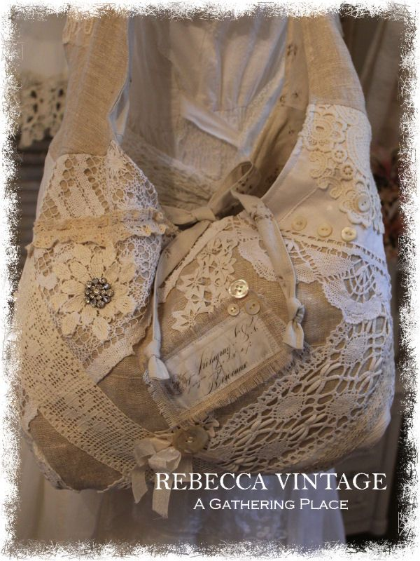 2015 VTG Lace Pin Tattered Tote Bag - Totes - A Gathering Place