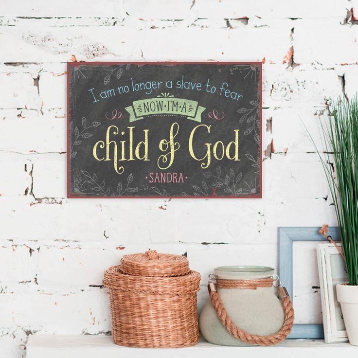Persönliches Metallschild im Format 27 x 19 cm, mit Aufhängung. #persönlich #metallschild #metall #schild #vintage #geschenk #handmade #child #god #bible #römer #romans