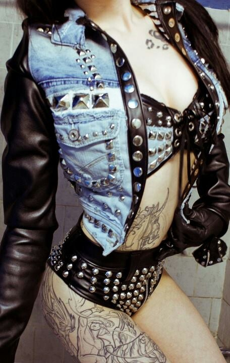 Toxic Vision studded denim jacket #UNIQUE_WOMENS_FASHION