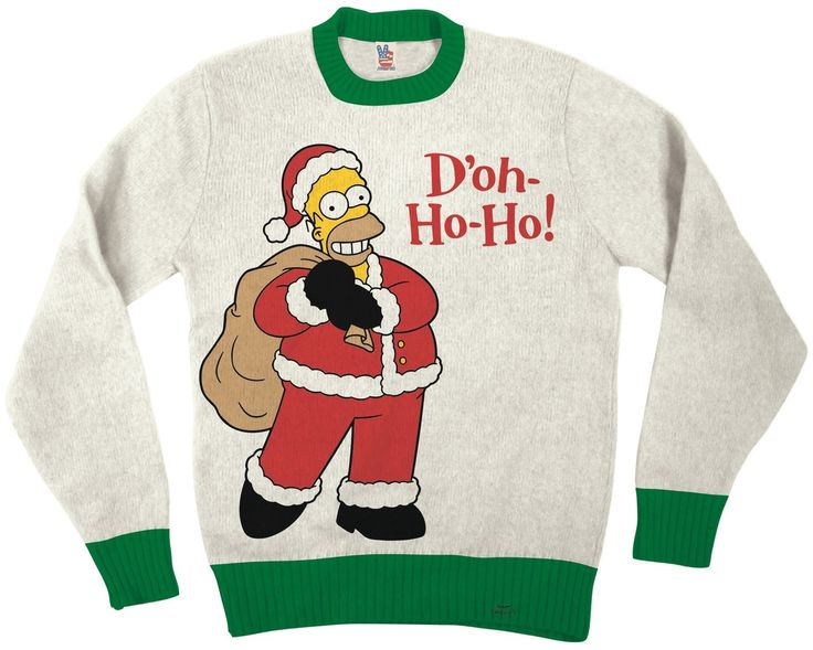 The Simpsons Homer Doh Ho Ho Adult Off-White Ugly Christmas Sweater