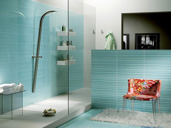 Unusual Shower Head: Small Bathroom Design, Glasses Tile, Shower Head, Modern Bathroom, Blue Tile, Interiors Design, Bathroom Ideas, Bathroom Tile Design, Blue Bathroom