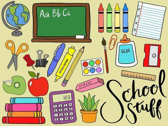 School Supplies Clipart Clip Art School Supplies Office Etsy Art School Supplies School Supplies School Clipart