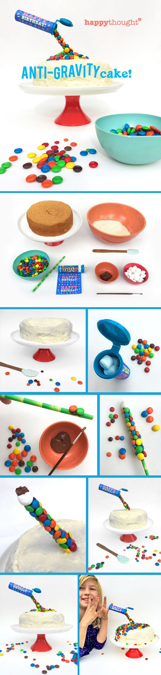 Birthday cake ideas: Make an Anti-Gravity M&M cake! https://happythought.co.uk/craft/birthday-cake-ideas