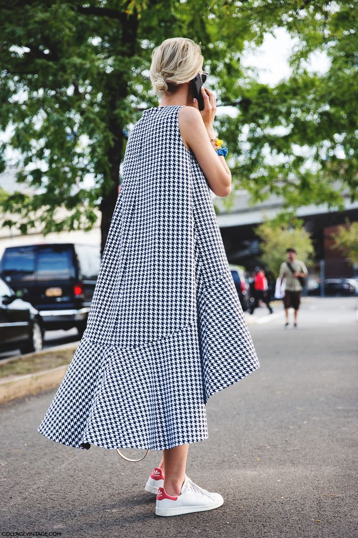 NYFW Street Style - ss '15 by collagevintage. Checked Dress. Adidas Stan Smith
