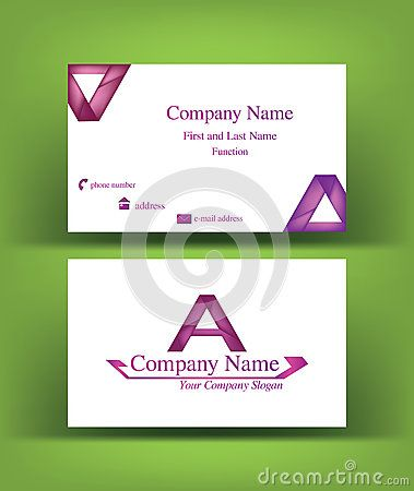 #Business #card with abstract #purple shaded #A #letter #logo design, on green background
