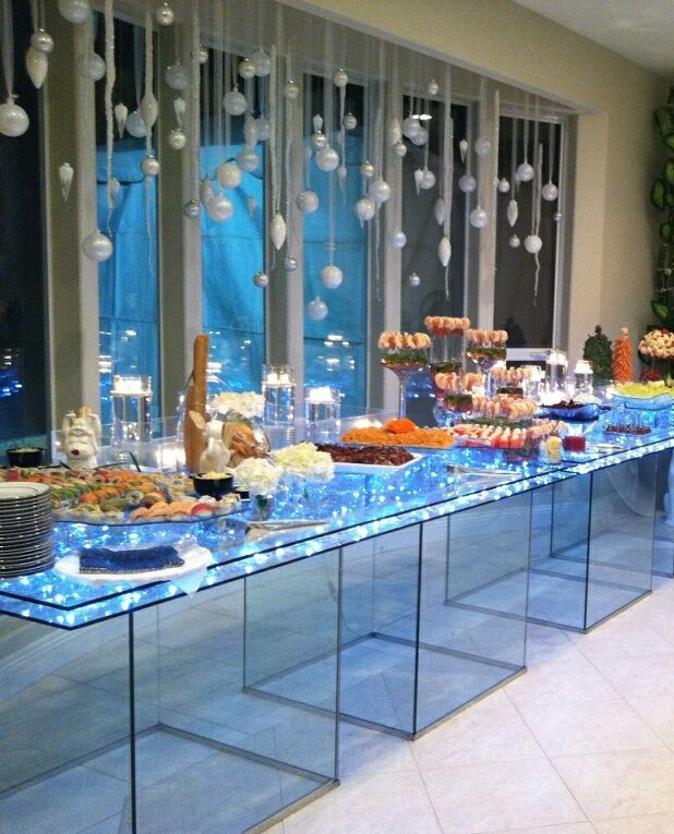 lighted acrylic food display tables