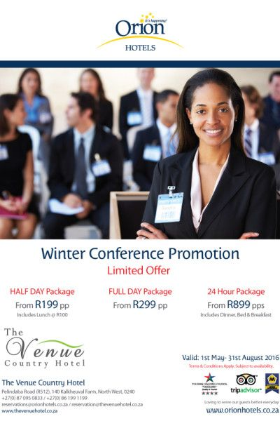 The Venue Country Hotel, situated in Hartbeespoort, North West Province has warm winter conference specials available until August 2016. Half day, full day and 24 hour packages are on limited offer. For more information and to book visit: http://eventroom.co.za/perfect-venues/29DiMqUBek_xXpnHc_Uju78frOswrpoqIgdFvo5a-n4