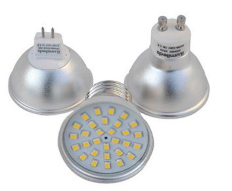 Foco LED tipo Spotlight marca Ilumileds, foco tipo dicroico, iluminaciÌ_n LED para interiores. Consume ̼nicamente 7 watts, blanco cÌÁlido, frÌ_o y natural.
