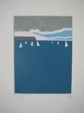 Seaside Lino Print Linocut print sailing beach