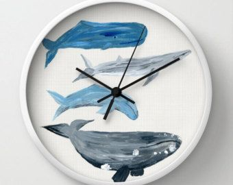 Whale Wall Clock, whale clock, beach house clock, nautical clock, ocean clock, sea clock, watercolor clock, nature clock, modern clock