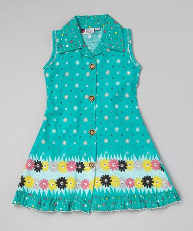 Turquoise Floral Button-Up Dress
